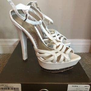 "BEBE ""ANGELICA"" White heels"